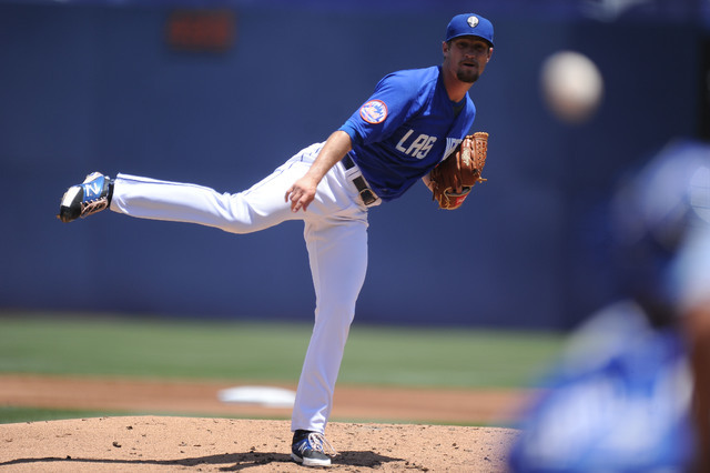 Las Vegas 51s starting pitcher Logan Verrett delivers to the Reno Aces in the second inning of their Triple-A minor league baseball game at Cashman Field Sunday June 14, 2015. (Josh Holmberg/Las V ...