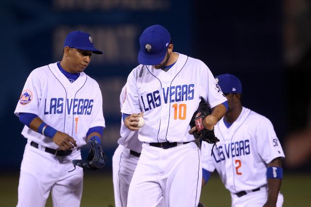 Las Vegas 51s starting pitcher Tyler Pill, center, is shown on April 17, 2015, at Cashman Field. (Sam Morris/Las Vegas Review-Journal) Follow Sam Morris on Twitter @sammorrisRJ