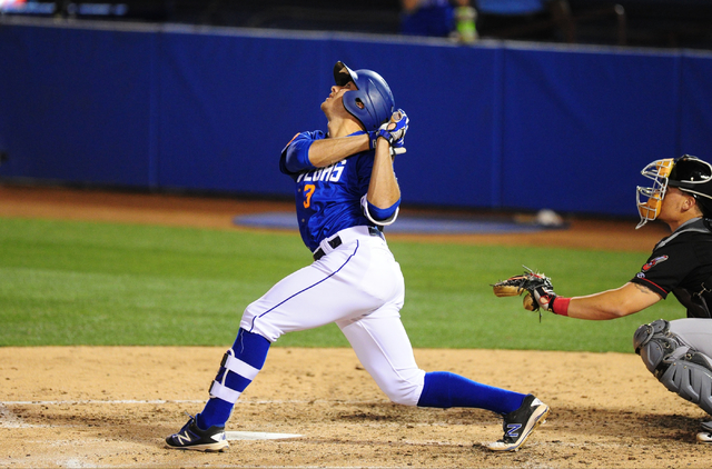 Las Vegas 51s batter T.J. Rivera flies out against the Nashville Sounds in the sixth inning of their minor league baseball game at Cashman Field in Las Vegas Monday, May 23, 2016. (Josh Holmberg/L ...