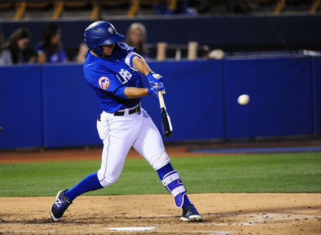 Las Vegas 51s batter T.J. Rivera hits an RBI single against the Nashville Sounds in the 3rd inning of their minor league baseball game at Cashman Field in Las Vegas Tuesday, May 24, 2016. (Josh Ho ...