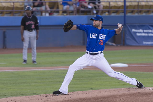 Las Vegas 51s pitcher Duane Below throws a pitch against the Albuquerque Isotopes during the final day of his five day pitching cycle at Cashman Field in Las Vegas Thursday, July 7, 2016. (Jason O ...