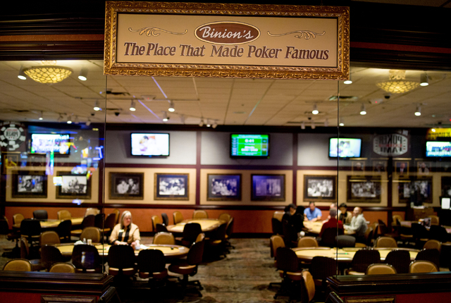 Patrons play poker in Binion's Gambling Hall & Hotel Thursday, Aug. 11, 2016, in Las Vegas. Elizabeth Page Brumley/Las Vegas Review-Journal Follow @ELIPAGEPHOTO