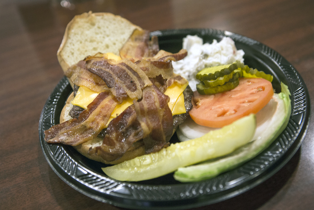 The Mel burger named after deli chef Mel Jones, who has worked for 35 years at Binion's Gambling Hall & Hotel, 128 Fremont St., is seen on Friday, Aug. 12, 2016. The downtown casino is celebra ...