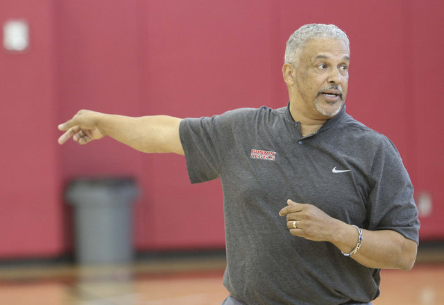 UNLV men's basketball head coach Marvin Menzies is seen on the court during team practice at the Mendenhall Center at UNLV in Las Vegas on Monday, Aug. 8, 2016. (Richard Brian/Las Vegas Review-Jou ...