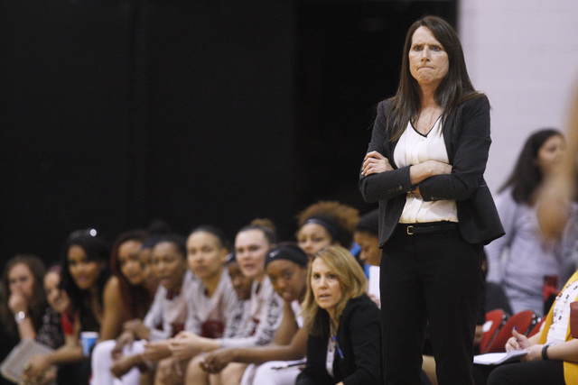 UNLV women's basketball head coach Kathy Olivier scowls during the first half of the Lady Rebels Mountain West Conference game against Utah State Wednesday, Feb. 25, 2015, at Cox Pavilion. (Sam Mo ...