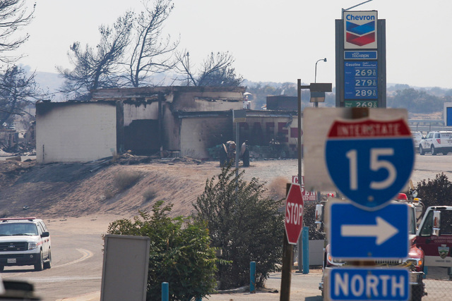 A cafe off of Mariposa Road, next to I-15 in Hesperia, Calif., shows damage from the Bluecut Fire on Wednesday, Aug. 17, 2016. Brett Le Blanc/Las Vegas Review-Journal Follow @bleblancphoto