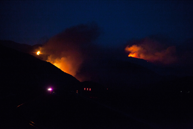 The Blue Cut Fire burns west of Interstate 15 near the northern junction with Interstate 215 on Wednesday, August 17, 2016, north of San Bernardino, Calif. Loren Townsley/Las Vegas Review-Journal  ...