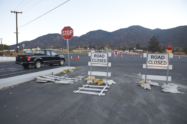 Road closures are seen through out the Cajon Pass area near Interstate 15 on Wednesday, August 17, 2016, north of San Bernardino, Calif., due to wildfires near the freeway. Loren Townsley/Las Vega ...