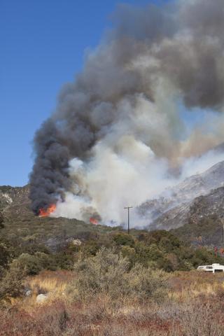 The Blue Cut Fire burns on Keenbrook Road east of Interstate 15 on Wednesday, August 17, 2016, north of San Bernardino, Calif. Loren Townsley/Las Vegas Review-Journal Follow @lorentownsley