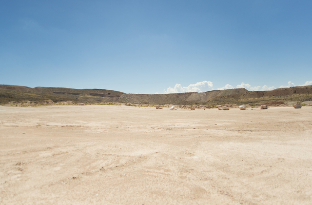 A large flat area of land is seen during a tour of the site of a proposed community inside the Blue Diamond Hill Gypsum mine near the town of Blue Diamond on Thursday, Aug. 11, 2016. (Daniel Clark ...