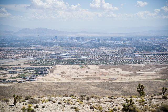 The Las Vegas Strip is visible from the edge of the site of a proposed community at the Blue Diamond Hill Gypsum mine near the town of Blue Diamond on Thursday, Aug. 11, 2016. (Daniel Clark/Las Ve ...