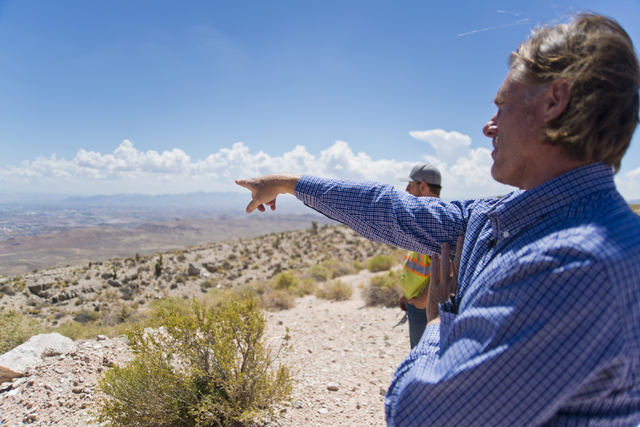 Ron Krater describes a proposed community during a tour of the site inside the Blue Diamond Hill Gypsum mine near the town of Blue Diamond on Thursday, Aug. 11, 2016. (Daniel Clark/Las Vegas Revie ...