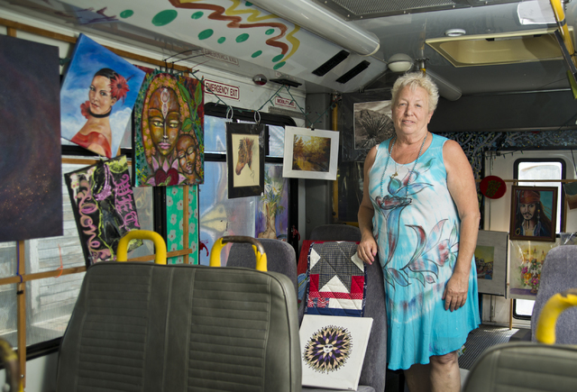 Roz Knight stands on board one of her Artz-To-Go traveling art classrooms at City of the World gallery. Knight founded the gallery as a nonprofit to help foster and promote art in Las Vegas. Danie ...