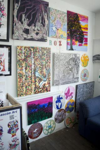 Roz Knight's artwork hangs on a wall inside City of the World gallery in the downtown arts district. Daniel Clark/Las Vegas Review-Journal Follow @DanJClarkPhoto
