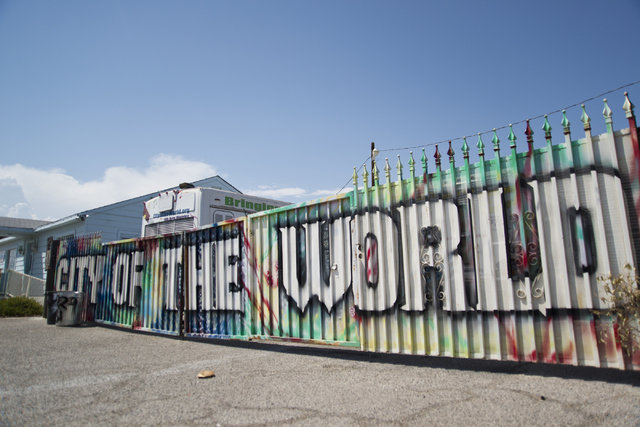A sign advertises City of the World gallery in the downtown arts district. Daniel Clark/Las Vegas Review-Journal Follow @DanJClarkPhoto