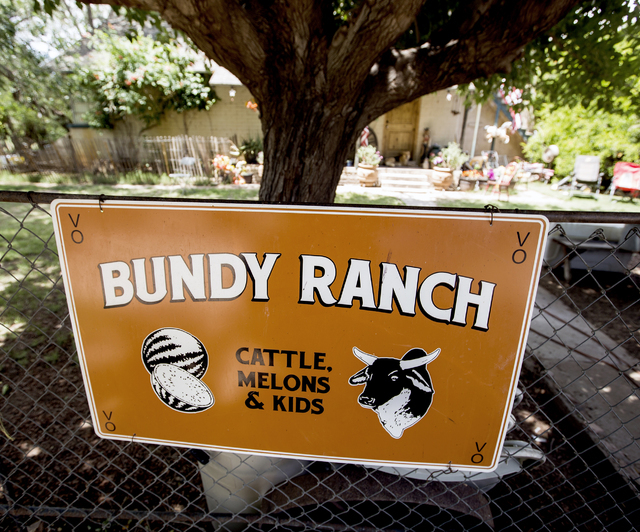A sign is posted on a fence at the Bundy Ranch in Bunkerville on Thursday, May 19, 2016. Jeff Scheid/Las Vegas Review-Journal Follow @jlscheid