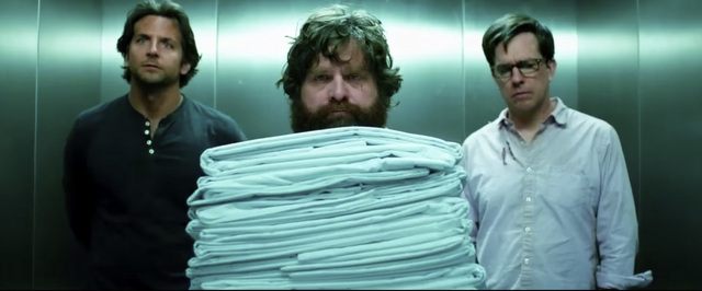 """Wolf Pack members Phil (Bradley Cooper), Alan (Zach Galifianakis) and Stu (Ed Helms) share Caesars Palace adventures in 2009's """"The Hangover"""" and 2013's """"The Hangover Part III."""" (Warner Bros.)"""