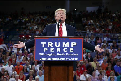 Republican presidential candidate Donald Trump speaks during a campaign rally at the University of North Carolina Wilmington, Tuesday, Aug. 9, 2016, in Wilmington, N.C. (Evan Vucci/AP)