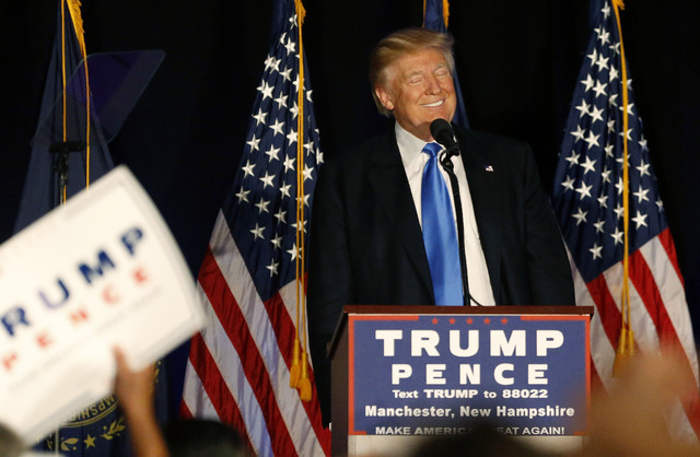 Republican presidential candidate Donald Trump smiles while speaking at a campaign rally in Manchester, N.H., Thursday, Aug. 25, 2016. (Gerald Herbert/AP)