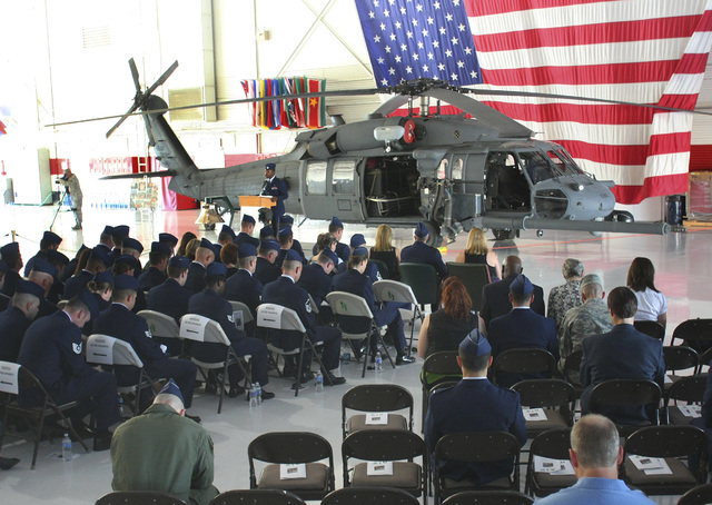 A Pave Hawk rescue helicopter is displayed July 15, 2010, in the Thunderbirds hangar at Nellis Air Force Base in Las Vegas during a memorial service for airmen who died after their Pave Hawk helic ...