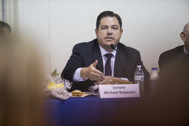 Nevada Senate Majority Leader Michael Roberson, R-Henderson, answers questions during a public forum to discuss breaking the Clark County School District into 357 individual school precincts at th ...