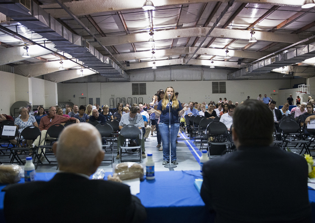 Whitney Wickersham thanks the panel for it's efforts during a public forum to discuss breaking the Clark County School District into 357 individual school precincts at the Fine Arts Building at th ...