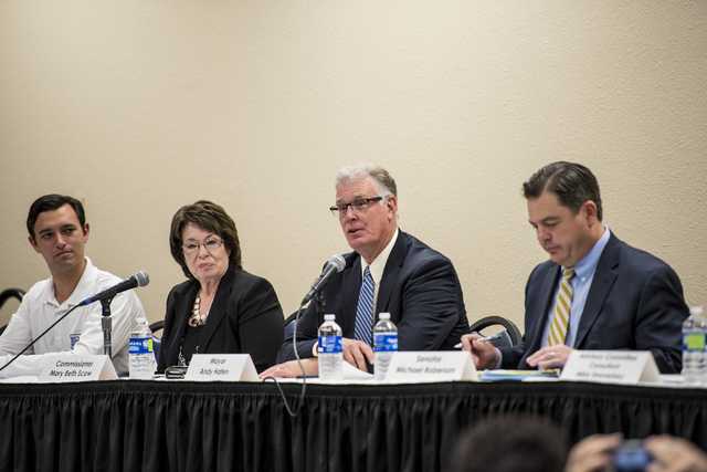 Assemblyman Stephen Siberkraus, from left, Clark County Commissioner Mary Beth Scow, Henderson Mayor Andy Hafen and State Sen. Michael Roberson are seen during a public forum discussing a plan to  ...