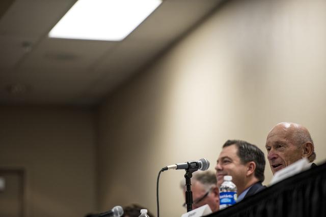 Mike Strembitsky speaks during a public forum discussing a plan to reorganize the Clark County School District at Henderson City Hall on Thursday, July 28, 2016. Joshua Dahl/Las Vegas Review-Journal
