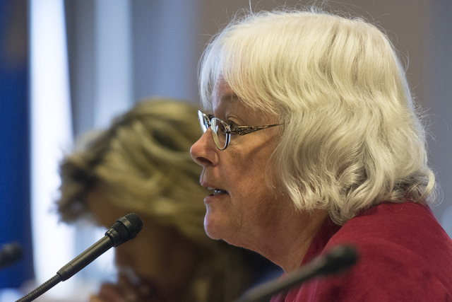 Carolyn Edwards, District F trustee with the Clark County School District speaks during a legislative panel meeting to discuss reorganization plans for the Clark County School District at the Sawy ...