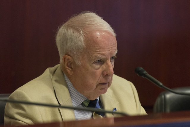Assemblyman Lynn Stewart, R-Henderson, listens during a legislative panel meeting to discuss reorganization plans for the Clark County School District at the Sawyer Building in Las Vegas Tuesday,  ...