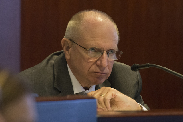 State Sen. Joe Hardy, R-Boulder City, listens during a legislative panel meeting to discuss reorganization plans for the Clark County School District at the Sawyer Building in Las Vegas Tuesday, A ...