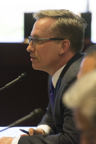 Tod Story, executive director, of the Nevada American Civil Liberties Union speaks during a legislative panel meeting to discuss reorganization plans for the Clark County School District at the Sa ...