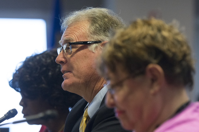Henderson Mayor Andy Hafen speaks during a legislative panel meeting to discuss reorganization plans for the Clark County School District at the Sawyer Building in Las Vegas Tuesday, Aug. 16, 2016 ...