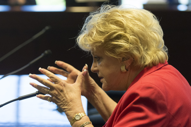 Las Vegas Mayor Carolyn Goodman speaks during a legislative panel meeting to discuss reorganization plans for the Clark County School District at the Sawyer Building in Las Vegas Tuesday, Aug. 16, ...