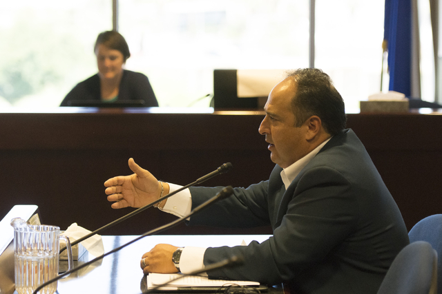 Guillermo Vazquez speaks during a legislative panel meeting to discuss reorganization plans for the Clark County School District at the Sawyer Building in Las Vegas Tuesday, Aug. 16, 2016. Jason O ...