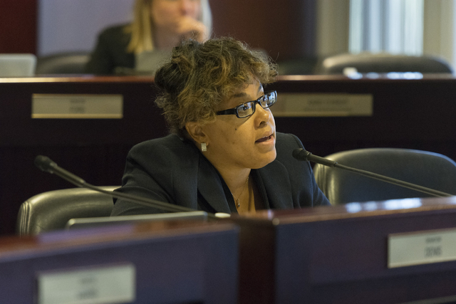 Assemblywoman Dina Neal, D-North Las Vegas, speaks during a legislative panel meeting to discuss reorganization plans for the Clark County School District at the Sawyer Building in Las Vegas Tuesd ...