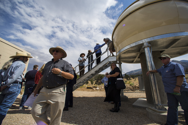 Attendees mingle and explore following the first light ceremony for the Great Basin Observatory and National Park Service centennial celebration at Great Basin National Park on Thursday, Aug. 25,  ...