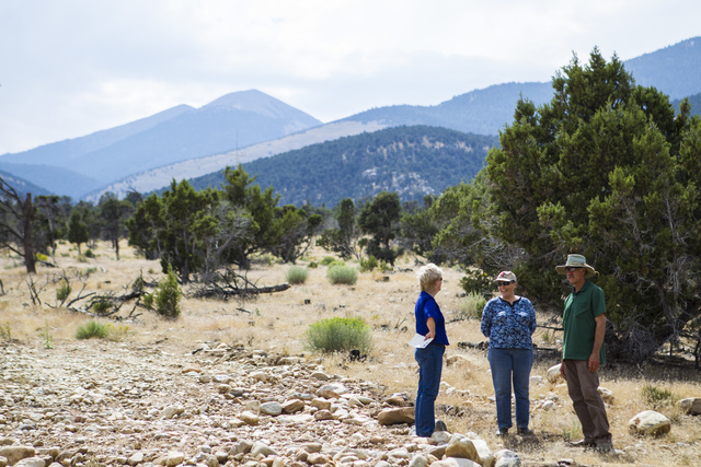 Attendees stand around following the the first light ceremony for the Great Basin Observatory and National Park Service centennial celebration at Great Basin National Park on Thursday, Aug. 25, 20 ...