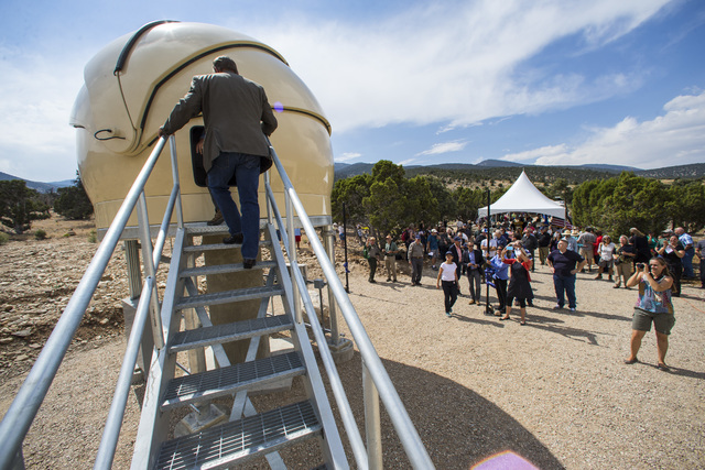 U.S. Rep. Crescent Hardy, R-Nev., climbs up to the Great Basin Observatory following the first light ceremony for the observatory and National Park Service centennial celebration at Great Basin Na ...