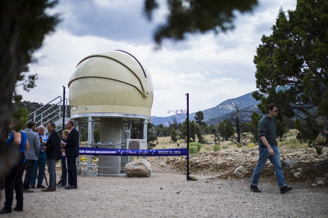 Attendees mingle and explore before the first light ceremony for the Great Basin Observatory and National Park Service centennial celebration at Great Basin National Park on Thursday, Aug. 25, 201 ...