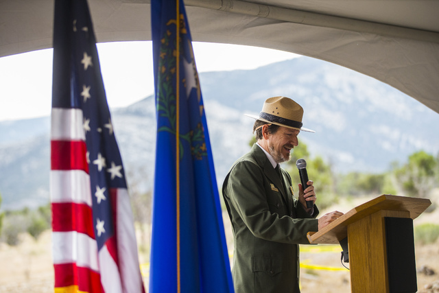 Great Basin National Park Superintendent Steve Mietz speaks during the Great Basin Observatory first light ceremony and National Park Service centennial celebration at the park on Thursday, Aug. 2 ...