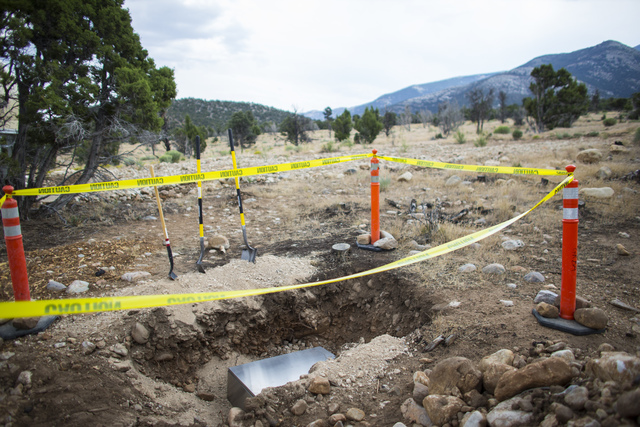A time capsule is shown before being buried during the National Park Service centennial celebration and first light ceremony for Great Basin Observatory at Great Basin National Park on Thursday, A ...