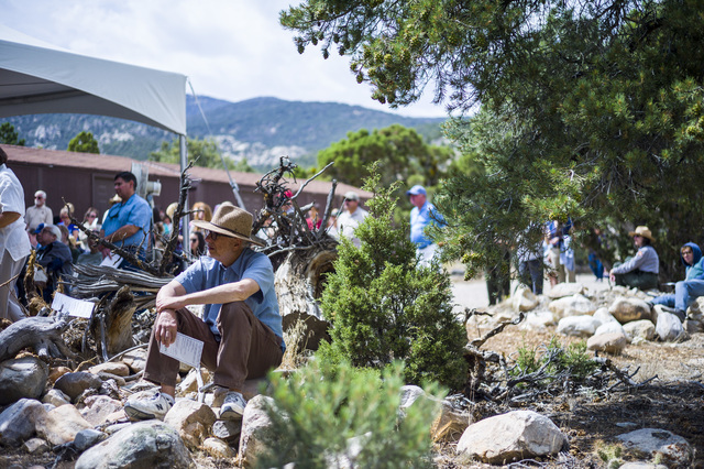 People look on during the first light ceremony for Great Basin Observatory and National Park Service centennial celebration at Great Basin National Park on Thursday, Aug. 25, 2016. (Chase Stevens/ ...