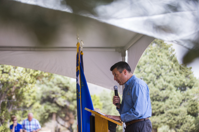 Gov. Brian Sandoval speaks during the Great Basin Observatory first light ceremony and National Park Service centennial celebration at Great Basin National Park on Thursday, Aug. 25, 2016. (Chase  ...