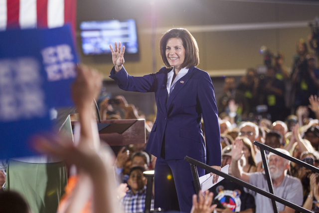 U.S. Senate Democratic candidate Catherine Cortez Masto takes the stage during a campaign rally for Democratic presidential candidate Hillary Clinton at the International Brotherhood of Electrical ...
