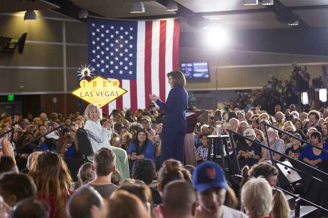 Congresswoman Dina Titus, D-Nev., left, and U.S. Senate Democratic candidate Catherine Cortez Masto take the stage during a campaign rally for Democratic presidential candidate Hillary Clinton at  ...