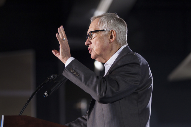U.S. Sen. Harry Reid speaks during a campaign rally for Democratic presidential candidate Hillary Clinton at the International Brotherhood of Electrical Workers headquarters on Thursday, Aug. 4, 2 ...