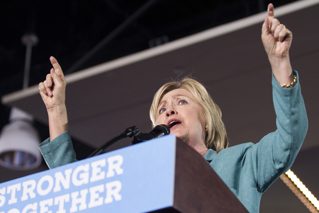 Democratic presidential candidate Hillary Clinton speaks during a campaign rally at the International Brotherhood of Electrical Workers headquarters on Thursday, Aug. 4, 2016, in Las Vegas. Erik V ...