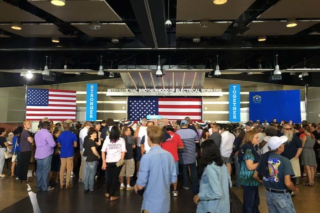 People gather for the rally for Democratic presidential candidate Hillary Clinton at the IBEW Local 357 Hall in Las Vegas, Thursday, Aug. 4, 2016. (Twitter/@NatalieBruzda)