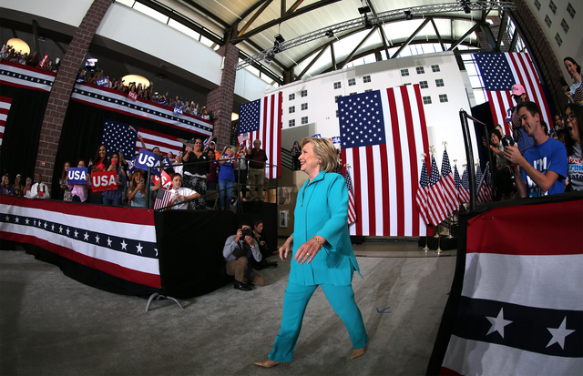 Democratic presidential candidate Hillary Clinton stumps at Truckee Meadows Community College in Reno, Nev., Thursday, Aug. 25, 2016. Cathleen Allison/Las Vegas Review-Journal